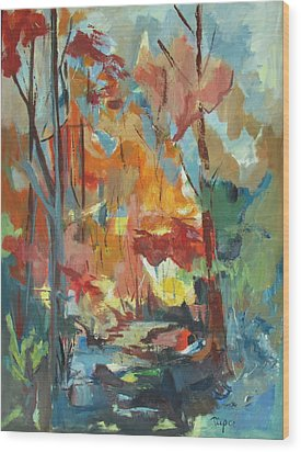 Wood Print featuring the painting Fall From My Window by Betty Pieper