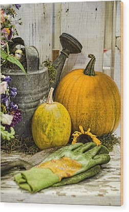 Fall Harvest Wood Print by Heather Applegate