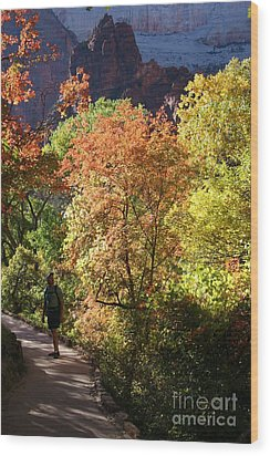 Wood Print featuring the photograph Fall Hiking At Zion National Park by Mary Lou Chmura