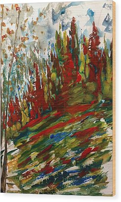 Fall Hillside In Abstract Wood Print