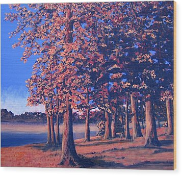 Wood Print featuring the painting Fall In East Texas by Suzanne Theis
