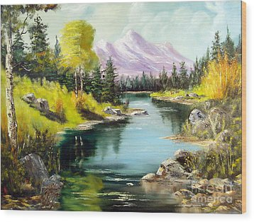 Fall In The Rockies Wood Print by Lee Piper