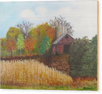 Wood Print featuring the painting Fall In Wisconsin by Sharon Schultz