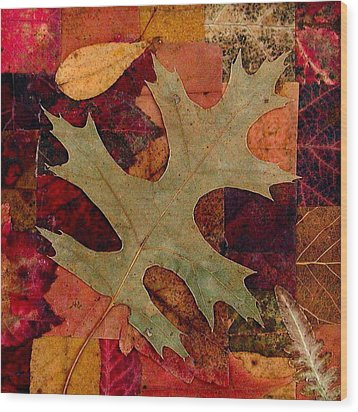 Wood Print featuring the mixed media Fall Leaf Collage by Anna Ruzsan