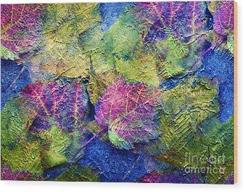 Fall Leave Abstract Wood Print by Judy Palkimas