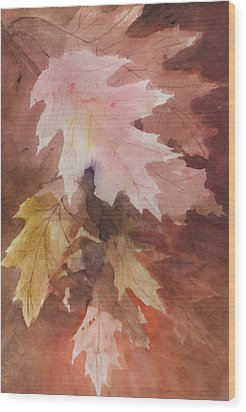 Wood Print featuring the painting Fall Leaves by Susan Crossman Buscho