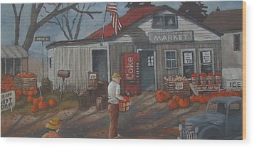 Wood Print featuring the painting Fall Market by Tony Caviston