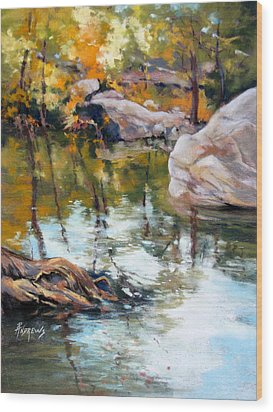 Fall Mirror Wood Print by Rae Andrews