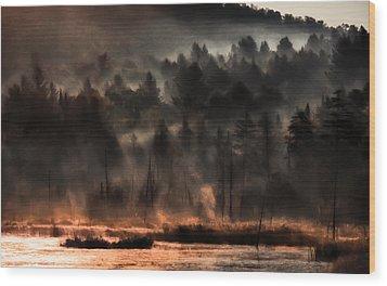 Fall Morning Fog Wood Print by Jeff Folger