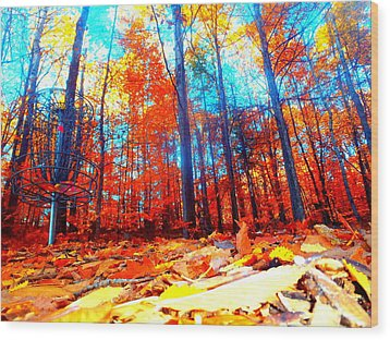 Fall On Fire Wood Print