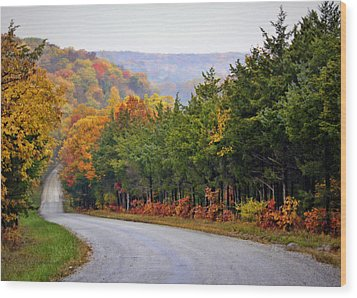 Fall On Fox Hollow Road Wood Print by Cricket Hackmann
