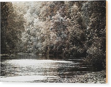 Fall On The Current Wood Print by Marty Koch
