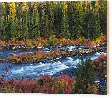 Fall On The Deschutes River Wood Print by Kevin Desrosiers