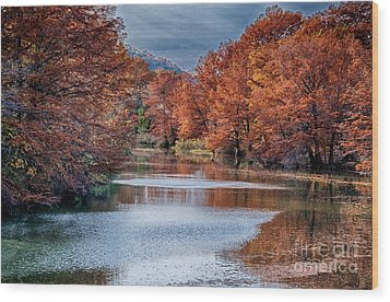 Fall On The Guadalupe Wood Print