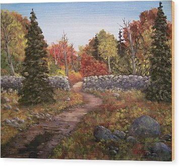 Wood Print featuring the painting Fall Path by Megan Walsh