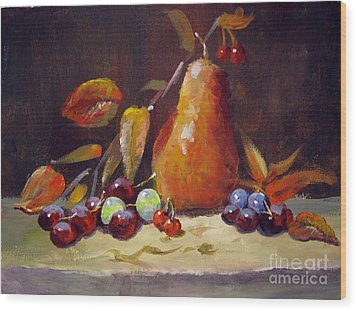 Wood Print featuring the painting Fall Pear by Carol Hart