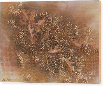 Fall Pinecones Wood Print by Paula Marsh