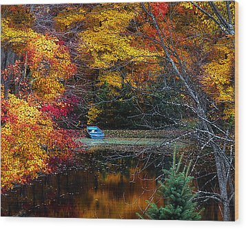 Fall Pond And Boat Wood Print