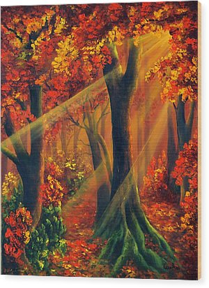 Fall Rays Wood Print by Katia Aho