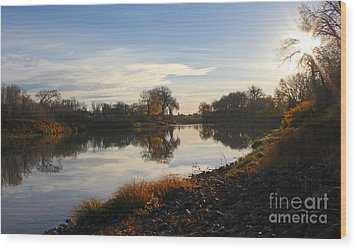 Wood Print featuring the photograph Fall Red River At Sunrise by Steve Augustin