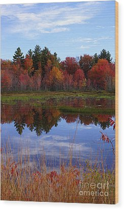 Fall Reflections Wood Print by Kerri Mortenson