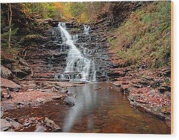 Fall Reflections Of F L Ricketts Falls Wood Print by Gene Walls