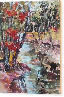 Fall Reflections Wood Print by Rae Andrews