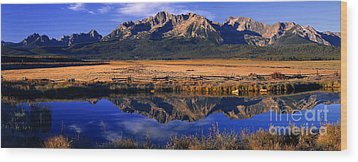 Wood Print featuring the photograph Fall Reflections Sawtooth Mountains Idaho by Dave Welling