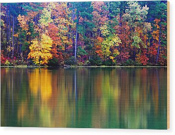 Fall Reflections Wood Print by Tony  Colvin