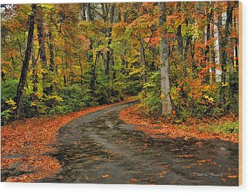 Fall Road To Glory Wood Print by Kenny Francis