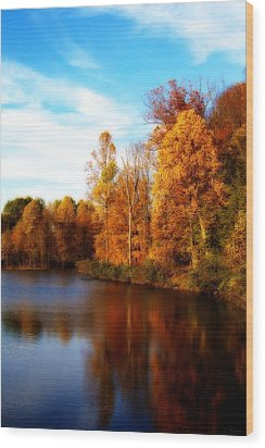 Fall Scene At Hedden Pond With Orton Effect Wood Print by Eleanor Abramson