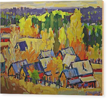 Fall Sheds Wood Print by Brian Simons