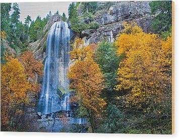 Fall Silver Falls Wood Print by Robert Bynum