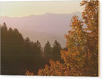 Fall Smoky Mountains Wood Print by Melinda Fawver