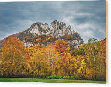 Fall Storm Seneca Rocks Wood Print by Mary Almond