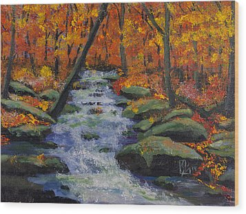 Fall Stream Wood Print