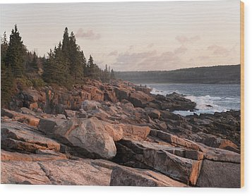 Fall Sunrise In Acadia Wood Print by Phyllis Peterson