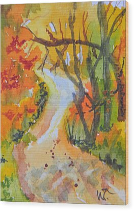 Fall Trail Wood Print by Warren Thompson