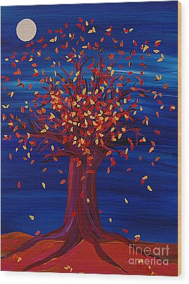 Fall Tree Fantasy By Jrr Wood Print