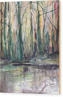 Fall Trees At Night Edge Wood Print by Robin Miller-Bookhout