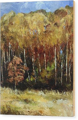 Fall Trees Three Wood Print by Lindsay Frost
