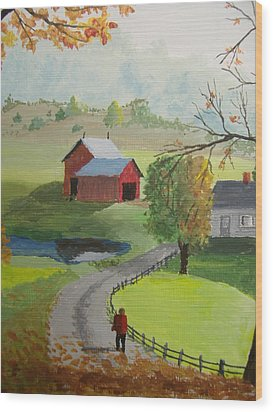 Wood Print featuring the painting Fall Walk by Norm Starks