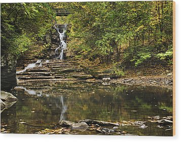 Fall Waterfall Creek Reflection Wood Print by Christina Rollo