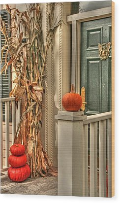 Fall Welcome Wood Print by Heather Allen