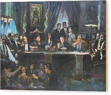 Fallen Last Supper Bad Guys Wood Print by Ylli Haruni