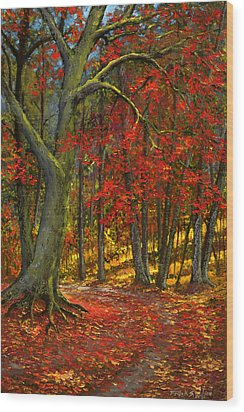 Fallen Leaves Wood Print by Frank Wilson