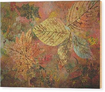 Fallen Leaves II Wood Print by Ellen Levinson