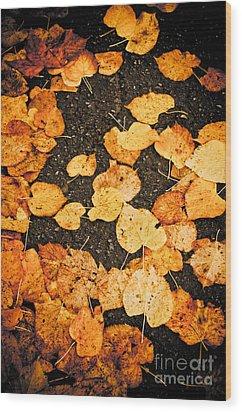 Fallen Leaves Wood Print by Silvia Ganora