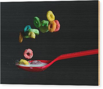 Wood Print featuring the photograph Falling Fruit Loops by John Hoey