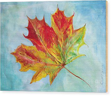 Falling Leaf - Painting Wood Print